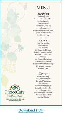Creamery Brook Sample Menu